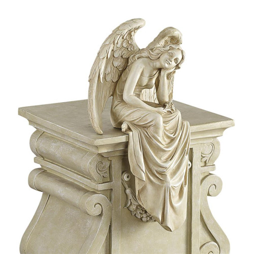 """15"""" Ivory Resting Grace Sitting Angel Outdoor Garden Statue - IMAGE 1"""