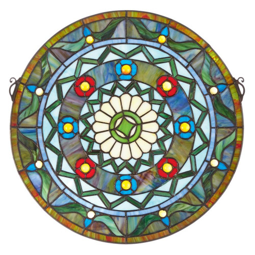 "16.5"" Green and Blue Kaleidoscope Stained Glass Window - IMAGE 1"