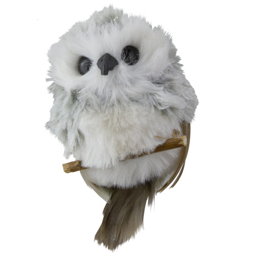 """3.5"""" White and Gray Fluffy  Baby Owl on Perch Christmas Ornament - IMAGE 1"""