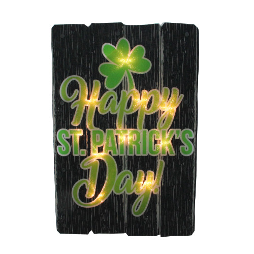 """16"""" Lighted Shimmering Happy St. Patrick's Day Shamrock Window Silhouette - IMAGE 1"""