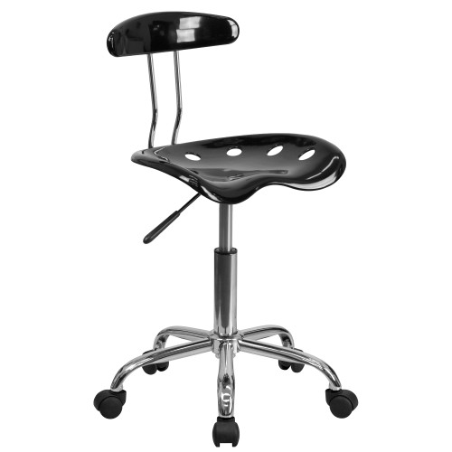 """34.75"""" Black and Metallic Gray Tractor Seat Chrome Swivel Task Office Chair - IMAGE 1"""