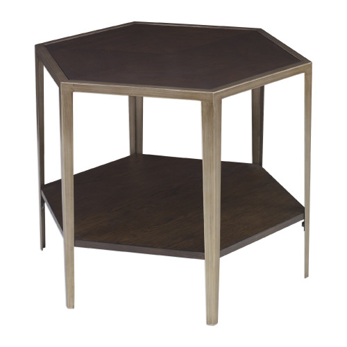 """24"""" Gold and Brown Wood Contemporary Hexagonal Accent Table - IMAGE 1"""