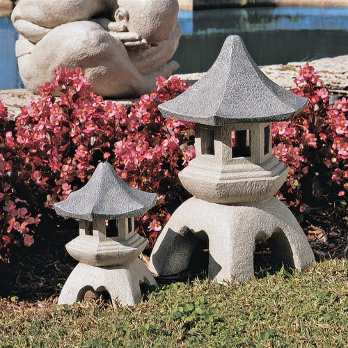 """Set of White and Gray Pagoda Outdoor Lanterns Sculptures 17"""" - IMAGE 1"""