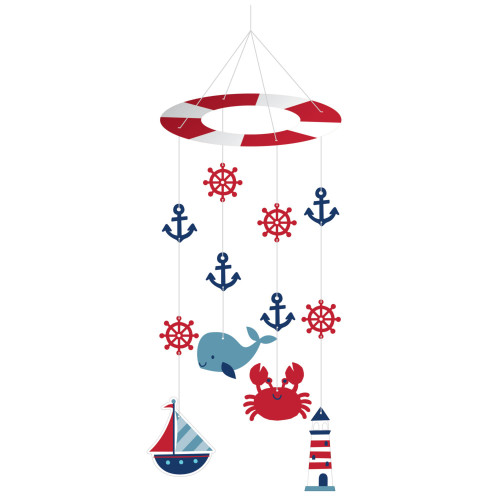 """Club Pack of 6 White and Pink Nautical Baby Shower Treat Bags 24"""" - IMAGE 1"""