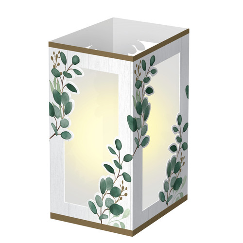 """Pack of 6 White and Green Eucalyptus Lantern Party Table Centerpieces 7.5"""" - IMAGE 1"""
