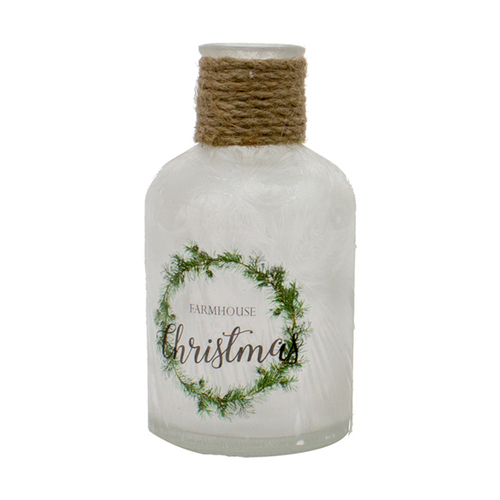 """4.75"""" White Small Farmhouse Christmas Jar with Rope in Neck - IMAGE 1"""
