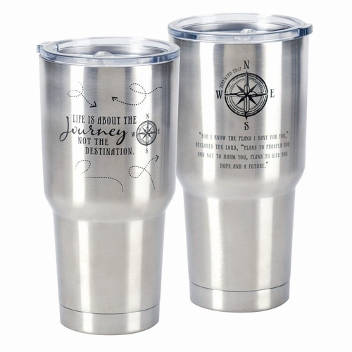"""30 oz Stainless Steel """"Life is a Journey"""" Travel Tumbler with Lid - IMAGE 1"""