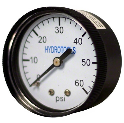 "2.25"" Black and White 60PSI Rear Mount Pressure Gauge Swimming Pool Pump Accessory - IMAGE 1"