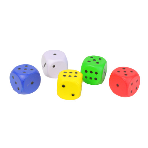Set of Five Fun Floating Colorful Six Sided Dice Game - IMAGE 1