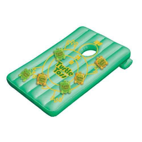 """36"""" Green Inflatable Turtle Toss Corn-Hole Target Swimming Pool Game - IMAGE 1"""