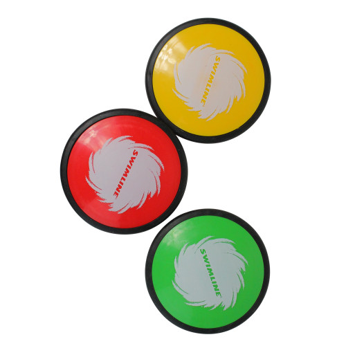 """Set of 3 Red,Green and Yellow Floating Swimming Pool Disc Skippers 4"""" - IMAGE 1"""
