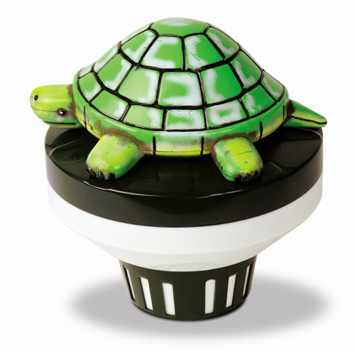 7.5-Inch Green and Black Turtle Floating Swimming Pool Chlorine Dispenser - IMAGE 1