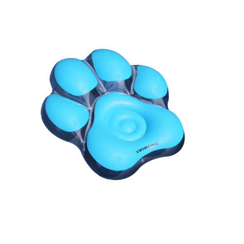 "61"" Inflatable Blue Pawprint Island Swimming Pool Float - IMAGE 1"