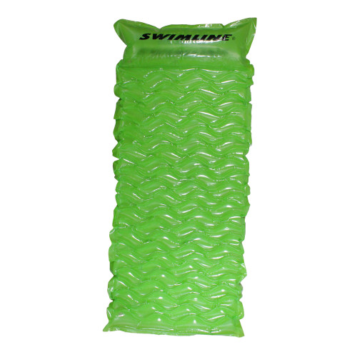 70-Inch Inflatable Green Bubble Swirled Swimming Pool Air Mattress Float - IMAGE 1