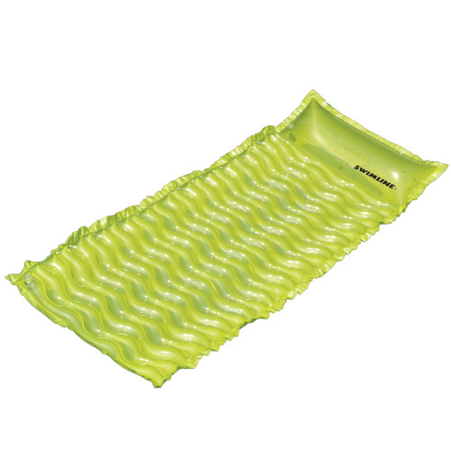70-Inch Inflatable Lime Green Bubble Swirled Swimming Pool Air Mattress Float - IMAGE 1