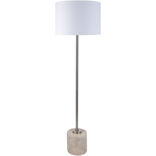 "62"" Traditional Style Floor Lamp with White Linen Shade and Base - IMAGE 1"