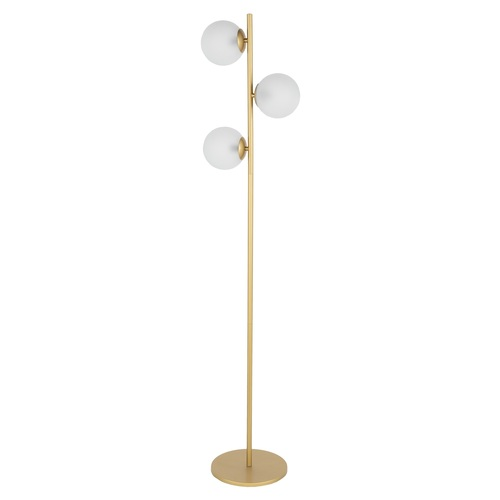 "63.5"" Metallic Gold Floor Lamp with White Glass Shade - IMAGE 1"
