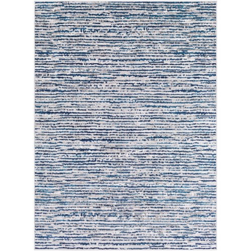 9.1' x 12' Navy Blue and Gray Abstract Pattern Rectangular Area Throw Rug - IMAGE 1