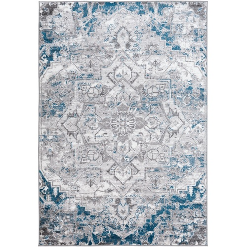 """6'7"""" x 9' Distressed Finish Teal and White Rectangular Machine Woven Area Rug - IMAGE 1"""