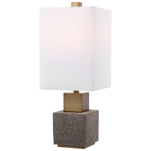 """25"""" Milky White and Brown Contemporary Buffet Lamp - IMAGE 1"""