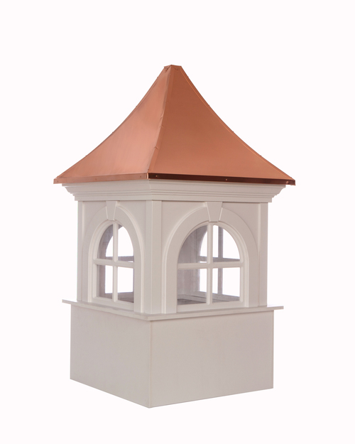 """51"""" Brown and White Handcrafted Smithsonian Fairfax Vinyl Cupola with Copper Roof - IMAGE 1"""