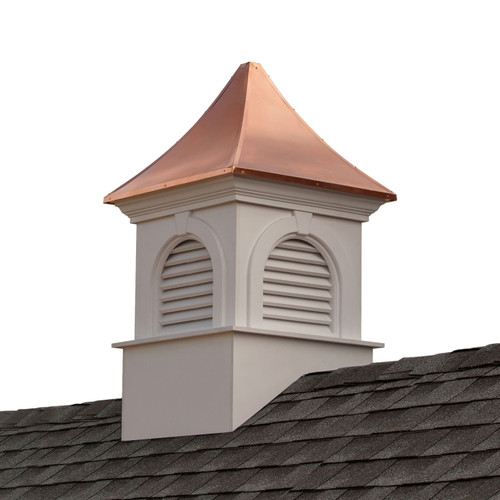 """51"""" Brown and White Handcrafted Smithsonian Newington Vinyl Cupola with Copper Roof - IMAGE 1"""