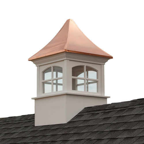 """42"""" White and Bronze Handcrafted Westport Vinyl Cupola with Copper Roof - IMAGE 1"""