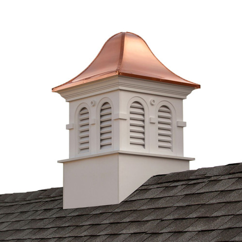"79"" White and Bronze Handcrafted Smithsonian Montgomery Vinyl Cupola with Copper Roof - IMAGE 1"