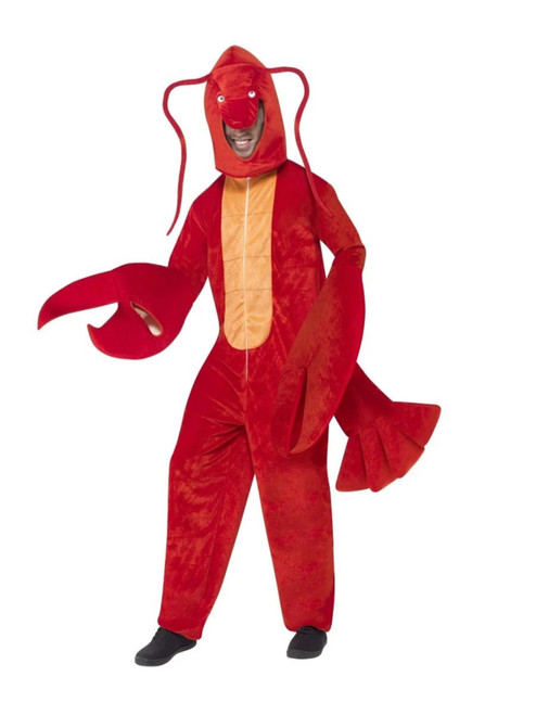 """42"""" Red and Orange Lobster Unisex Adult Halloween Costume with Hood - One Size - IMAGE 1"""