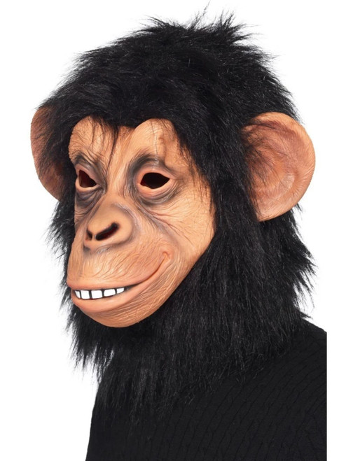 Black Chimp Unisex Adult Full Overhead Mask with Fur Costume Accessory - One Size - IMAGE 1