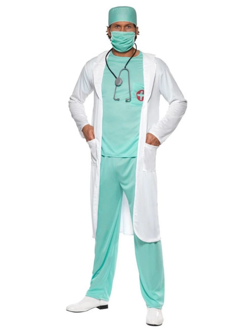 """44"""" White and Teal Green Doctor Men Adult Halloween Costume - Large - IMAGE 1"""