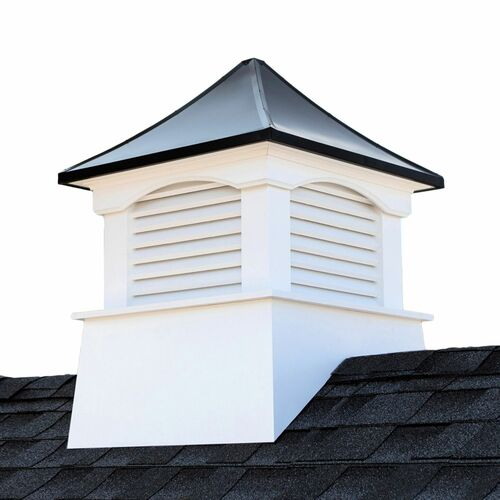 "24"" White and Black Contemporary Cupola with Roof - IMAGE 1"