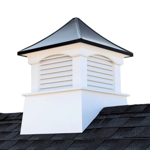 "35"" White and Black Contemporary Cupola with Roof - IMAGE 1"