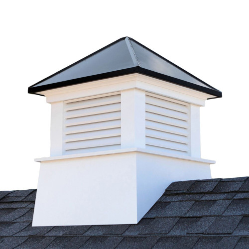 "22"" Black and White Contemporary Cupola with Roof - IMAGE 1"