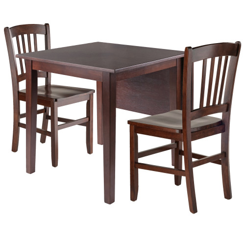 """Set of 3 Brown Walnut Drop Leaf Dining Table with Two Chairs – 29"""" - IMAGE 1"""