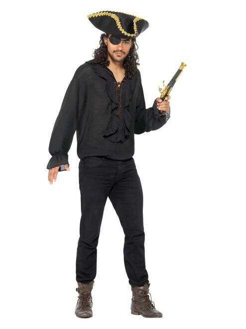 Black and Gold Pirate Unisex Adult Shirt Halloween Costume - Large - IMAGE 1