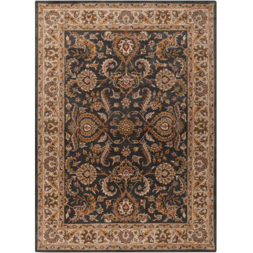 """7'6"""" x 9'6"""" Floral Design Brown and Taupe Rectangular Area Rug - IMAGE 1"""
