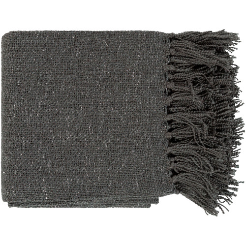 """Black and Silver Colored Rectangular Throw with Fringe 50"""" x 60"""" - IMAGE 1"""