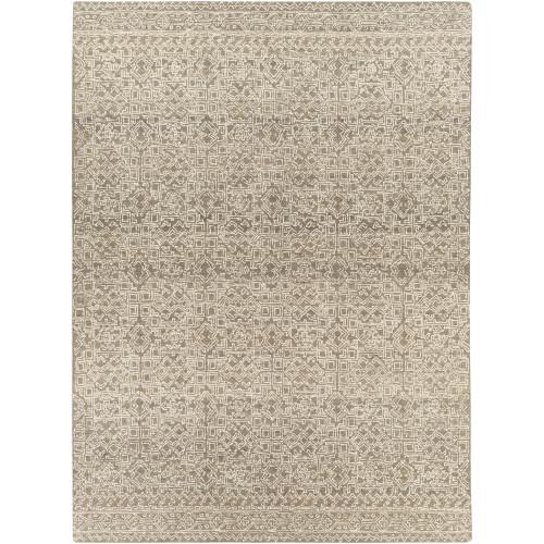 9' x 12' Tribal Cream White and Taupe Brown Rectangular Area Throw Rug - IMAGE 1