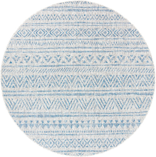5.25' Distressed Finish Gray and Blue Round Area Throw Rug - IMAGE 1
