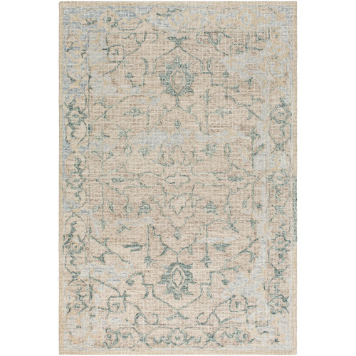 8' x 10' Motif Patterned Green and Gray Rectangular Area Rug - IMAGE 1