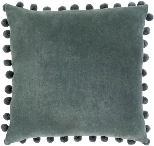 """20"""" Green Solid Pom Poms Square Throw Pillow Cover - IMAGE 1"""