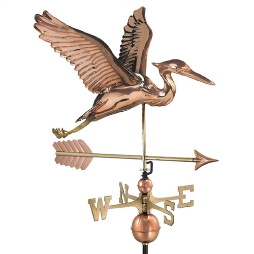 """38"""" Bronze Handcrafted Heron with Arrow Single Point Contact Design Weathervane - IMAGE 1"""