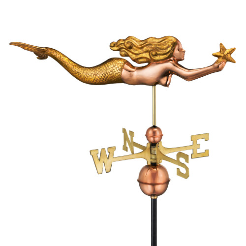 """29"""" Bronze and Gold Handcrafted Mermaid with Starfish Gold Leaf Finished Weathervane - IMAGE 1"""