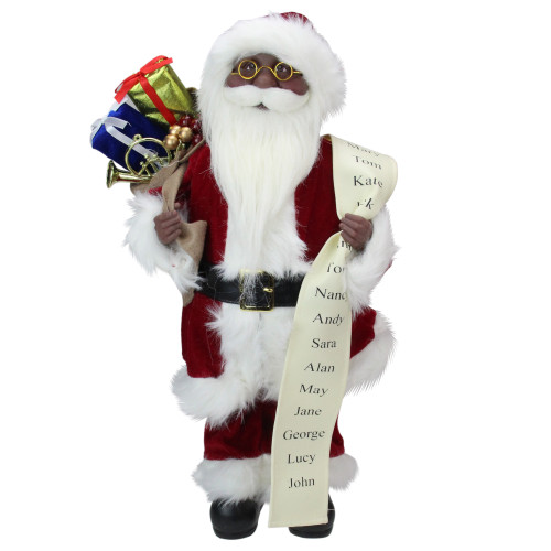 """16"""" African American Santa Claus Christmas Figure with Naughty or Nice List - IMAGE 1"""