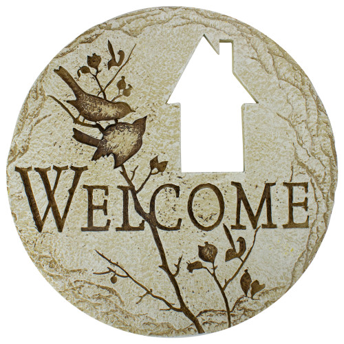 """12"""" Country Cottage Cut-Out """"Welcome"""" Decorative Garden Patio Stepping Stone - IMAGE 1"""