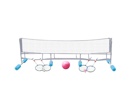 """90"""" Blue and Gray Water Volleyball and Badminton Combo Game - IMAGE 1"""