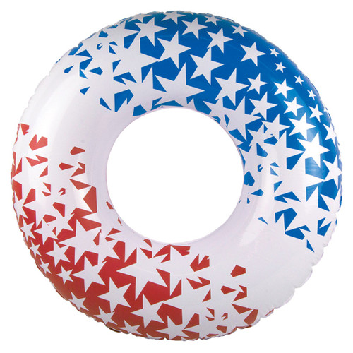 Red, White and Blue Patriotic American Stars Swimming Pool Inner Tube, 36-inch - IMAGE 1