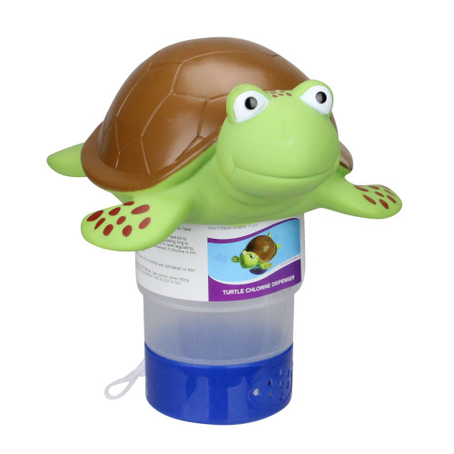 Green and Brown Floating Turtle Swimming Pool Chlorine Dispenser - IMAGE 1