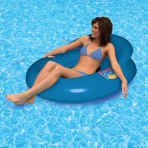 """50"""" Inflatable Blue Water Pop Floating Lounger with Black Mesh Seat - IMAGE 1"""